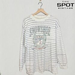VINTAGE Snowshoe West Virginia Striped Spell Out Sweatshirt Gray Size XL Holes $24.89