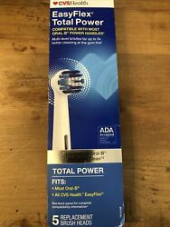 CVS Health Easy Flex Total Power Replacement Brush Heads 5 Pack Oral B New $10.99