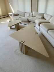 Contemporary Designer Solid Molded Resin Triangle Coffee Table Pair $1000.00