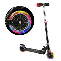 Folding Kick Scooter for Girls Boys Adjustable Height Scooter 2 LED Light Wheels $36.99