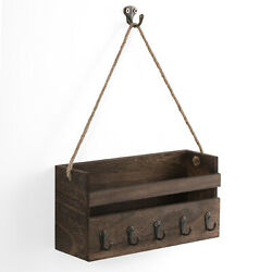 Wall Rustic Wooden Mail Sorteramp;Key Hooks Combo Hanging Mail Organizer Entryway $16.99