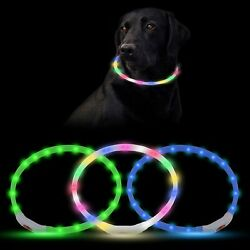 3pcs LED Dog Collars Rechargeable Light Up Dog Collars for Night Walking New US $17.09