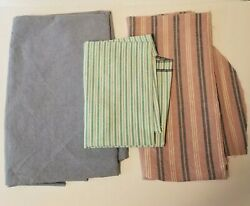 Vintage Material Fabric 3PC LOT Ticking Stripe Twill Crafting Sewing Quilting $14.80