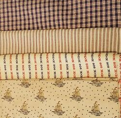 Vintage Material Fabric LOT Blue Red Cream Ships Stripes Plaid Craft Quilting $16.80