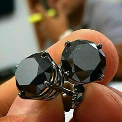 4Ct Round Cut Black Diamond Solitaire Stud Earrings Solid 14K Black Gold Finish $59.99