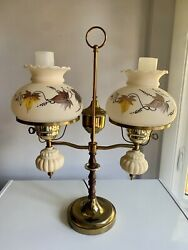Double Hurricane Student Desk Table Lamp Brass Wood Works $119.99