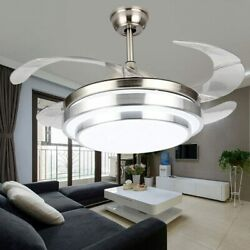 42quot; Modern Retractable Chandelier Ceiling Fan w Remote Control Dimmable LED US $113.03