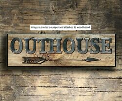 Outhouse rustic Sign Cowgirl Cowboy western Decor Gift Farmhouse 8x3x1 8quot; $14.99