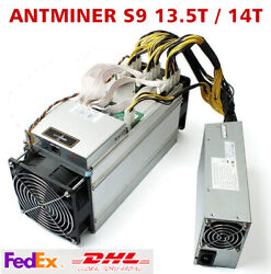 BTC BCH Bitcoin AntMiner S9 13.5T S9 14T With 1600W PSU Miner Power Supply $589.00