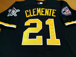 BRAND NEW Black Pittsburgh Pirates #21 Roberto Clemente HOF Patch sewn Jersey $56.76