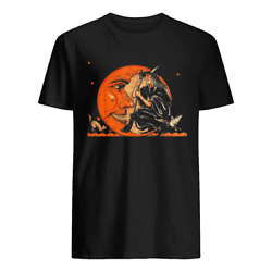 Great Vintage Witch A nd Moon Halloween T shirt Happy Halloween $14.69