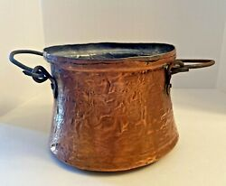 Vintage Persian Middle Eastern Hand Hammered Copper Pail $15.95