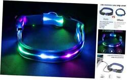 LED Dog Collar Light Up Dog Collar Waterproof USB Rechargeable Safety Blue $17.30