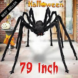 79 Inch Halloween Giant Black Spider Scary Fake Large Outdoor Spider Decorations $17.99