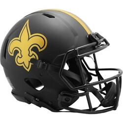 New Orleans Saints Eclipse Black Speed Authentic Full Size Helmet Low Supply $299.00