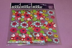 Sticko LOT of 3 Sealed Packs of Patterned Flowers Stickers $4.19