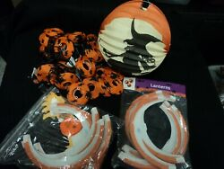 HALLOWEEN SILHOUETTE PARTY LANTERNS LOT PAPER STRING LIGHTS HONEYCOMB DECOR $24.99