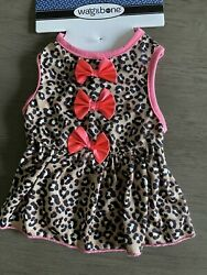 WAG amp; BONE Leopard Print with Pink Bows and Trim Dress Puppy Dog SMALL $16.50