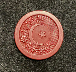 Red Antique Crescent Moon Star Poker Chip Clay Vintage Rare Old Gambling Game $5.99