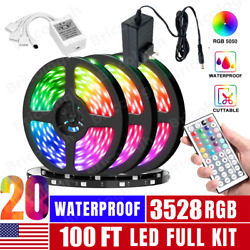 100FT Flexible 3528 RGB LED Strip Light Remote Fairy Light Room Party Waterproof $10.99