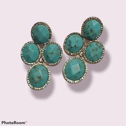 Turquoise Chandelier Clip on Gold Earrings NWT $12.00