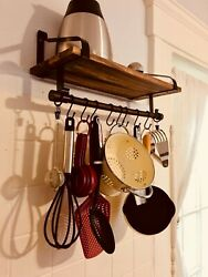Floating Shelf Wall for Rustic Wood Kitchen Spice Rack w Towel Bar and 8 Hooks $21.59