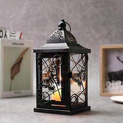 JHY DESIGN Butterfly Decorative Candle Lanterns 9.5quot; High Rustic Black Metal for $29.27