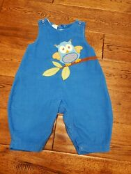 Boys 9 months Longall ZU by Petit Ami Blue Corduroy One Piece Fall Owl Overall $13.99