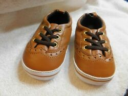 Carters Baby Boys 9 12M 4 Slip On Shoes Brown Faux Laces $8.99