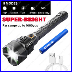 SUPER BRIGHT 90000LM LED Tactical Flashlight Waterproof Torch Light Rechargeable $26.68
