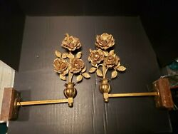 Antique EARLY Electric Pair Brass Tole ROSE Sconces $1325.00