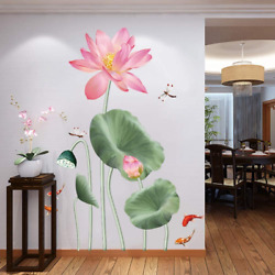 LLYDD Lotus Green And Pink Wall Sticker Decal Art Decor Peel and Stick Self $26.12