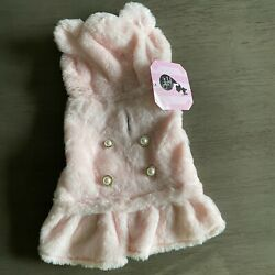 COCO LANE Pink Velour Bear Hoodie DRESS Puppy Dog small $18.50