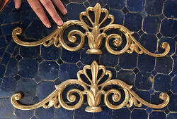 """Pair Brass Lily Gilt Scrolls Above Over Picture Door Mirror Toppers Wall 16"""" $11.99"""