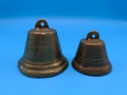 2 ANTIQUE BRASS COW BELLS BELL PRIMITIVE RUSTIC COUNTRY FARM $15.00
