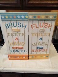 Hobby Lobby Bathroom Rules Art Wood Hanging Set of 2 18quot; x 8quot; $22.49