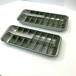 Pair Vintage Hotpoint Aluminum Metal Divided Ice Cube Tray w Lift Handles $24.00