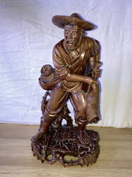 Antique Vintage Hand Carved Wood Wooden Asian Chinese Figurine Statue Old Man $20.00