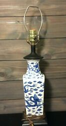 Blue and White Porcelain Lamp with Dragon Motif 26quot; Tall with Wood Base $189.99