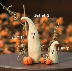 NEW Halloween Ghosts Set of 2 Primitive Rustic Resin 3.5quot; amp; 1.5quot; Fall Harvest $5.95
