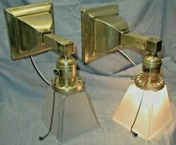 2 Antique Vtg Mission Arts amp; Crafts Deco Light Fixture Wall Sconce Square shade $275.00