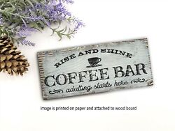 Coffee Bar Love Brewing Sign 8x3quot; Sitter Home Decor Rustic Farmhouse pc $14.99