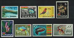 Ghana Birds Fish Orchids Antelope New Currency 8v 1967 MNH SG#445=454 GBP 9.25