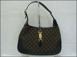 Auth AD14 Gucci Jackie Shoulder Bag GG Canvas Handle Junk from Japan $200.00
