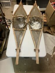 Vintage SNOWSHOES 53 X 12 1 4 Snow Shoes Need Repair or Nice Wall Hanging $47.00