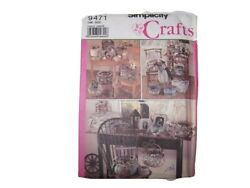 Simplicity Crafts 9471 Baskets Frames Covered Boxes Sewing Pattern Uncut VTG $4.90