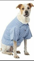 Top Paw Pet Smart Dog Large Shirt Blue White Triangles and Collar $9.99