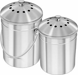 Kitchen Set 2 Stainless Steel Compost Bins Kitchen Countertop 1 and 1.3 Gallon $55.99