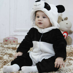 Baby Boy Girl Kids Cute Warm Winter 3D Panda Overall Thicken Romper Clothes $18.98