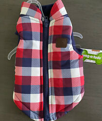 WAG A TUDE Red Blue Grid Check JACKET Puppy Dog SMALL $21.50